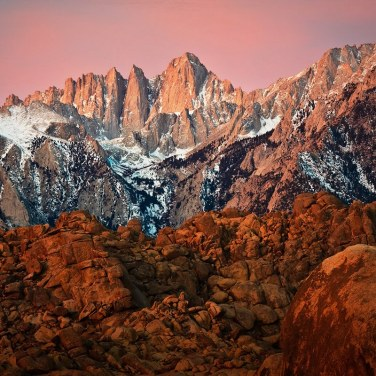 Mt. Whitney Sunrise with the Alabama Hills in the foreground